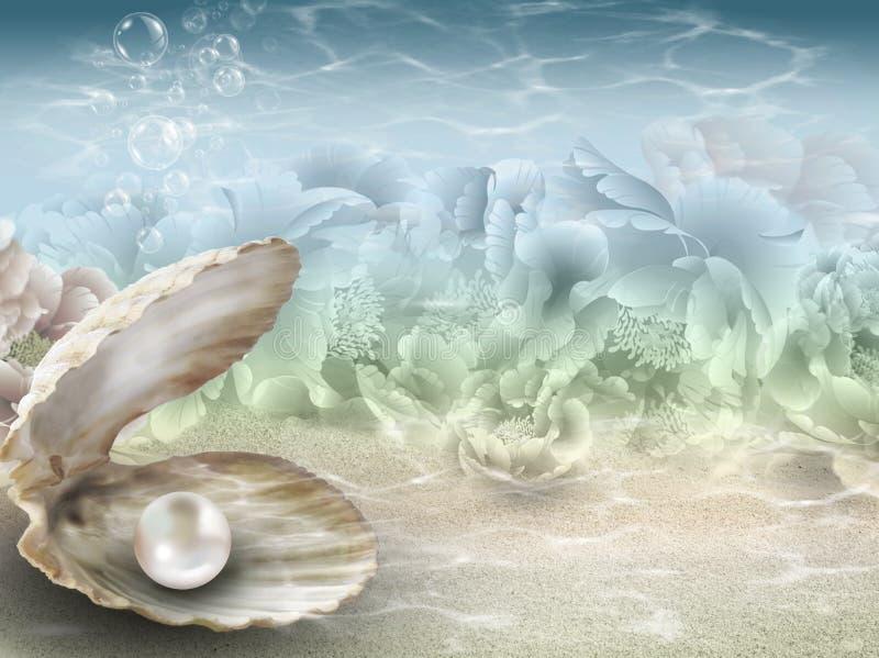 Perla nel fondo subacqueo delle coperture illustrazione vettoriale