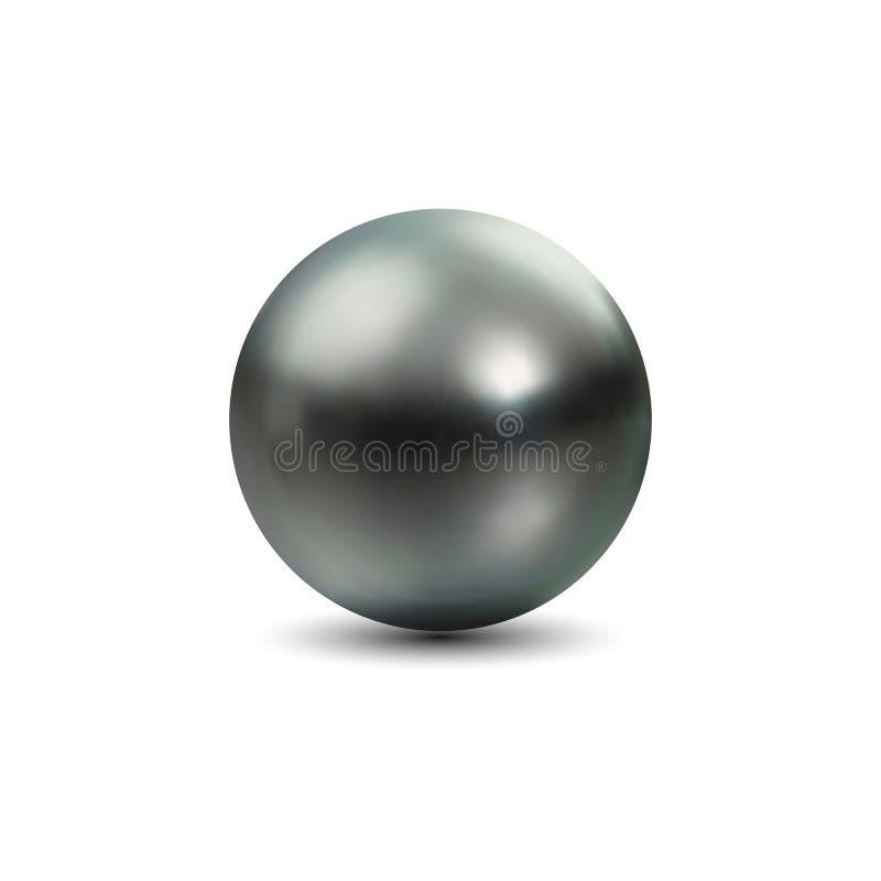 Perla nera naturale brillante con gli effetti della luce illustrazione di stock