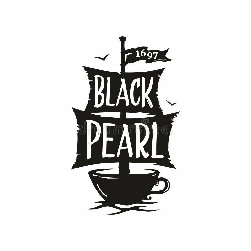 Perla professionale del nero del caffè di logo del segno di vettore moderno illustrazione di stock
