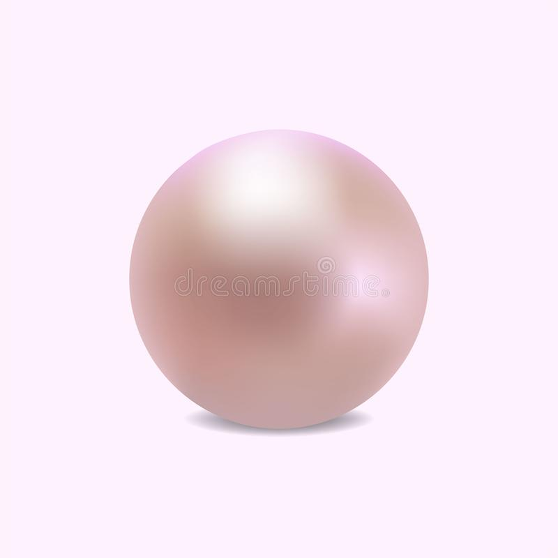 Perla realistica del puprle per gli accessori di lusso Logo della perla della decorazione, icona per il cosmetico, gioielli, nego illustrazione vettoriale