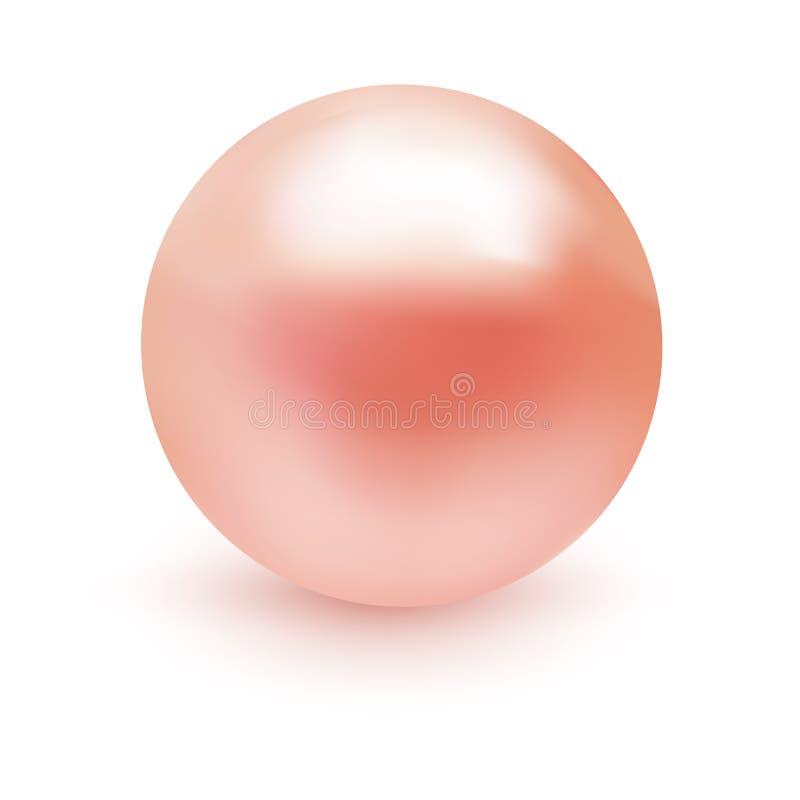 Perla rosa molle realistica isolata su fondo bianco Bello stile Illustrazione premio di qualità per la vostra progettazione illustrazione di stock