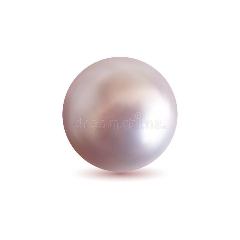 Perla rosa naturale brillante con gli effetti della luce illustrazione di stock