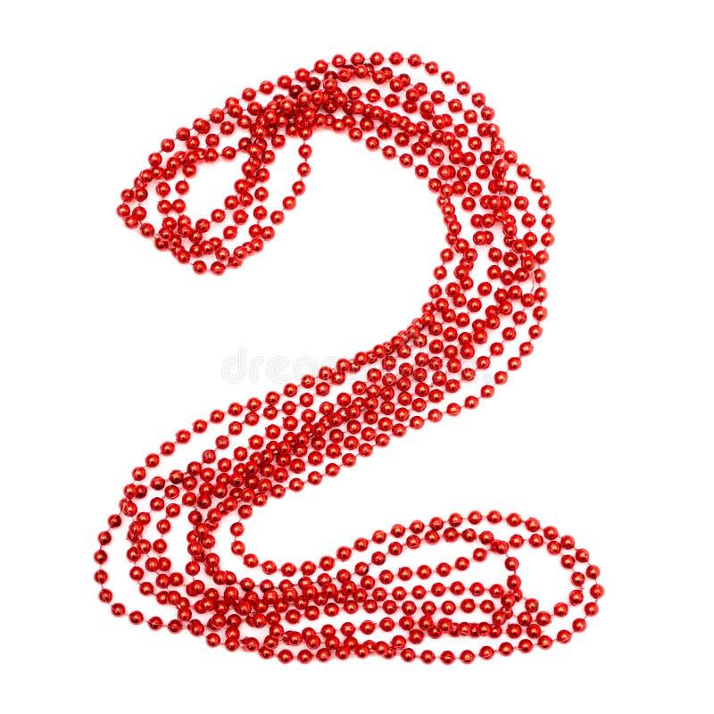 Perla rossa Numero luminoso 2 garlands Decorazione scintillante fotografie stock libere da diritti