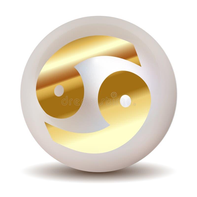 Perla - SEGNI dell'OROSCOPO dell'oro ZODIACO Cancro del 21 giugno - 20 luglio royalty illustrazione gratis