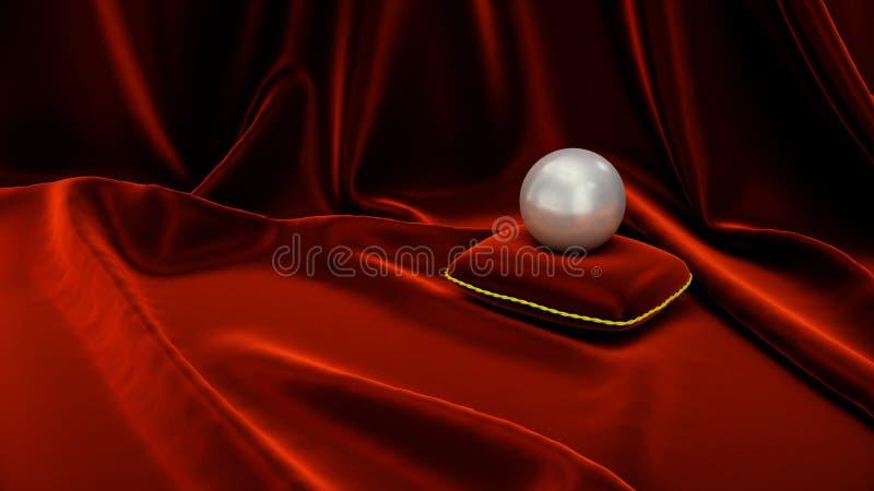 Perla su un cuscino rosso molle del velluto con seta rossa Bella illustrazione con la perla Perla della pietra preziosa sulla ten royalty illustrazione gratis