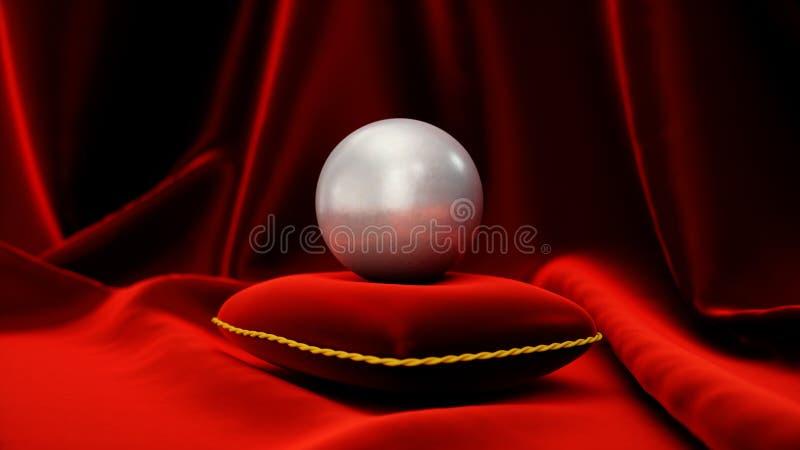 Perla su un cuscino rosso molle del velluto con seta rossa Bella illustrazione con la perla Perla della pietra preziosa sulla ten illustrazione vettoriale