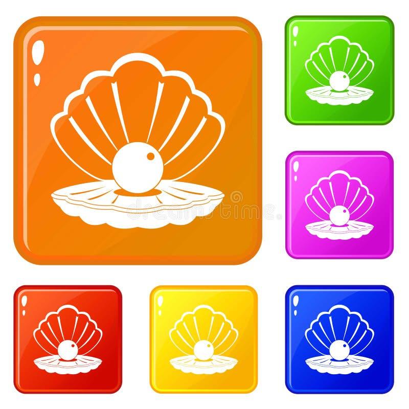 Perla in un colore di vettore dell'insieme delle icone della conchiglia illustrazione di stock