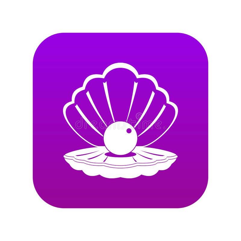 Perla in una porpora digitale dell'icona della conchiglia royalty illustrazione gratis