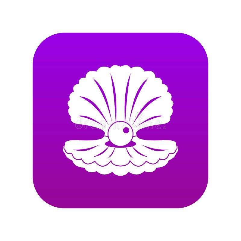 Perla in una porpora digitale dell'icona delle coperture illustrazione di stock