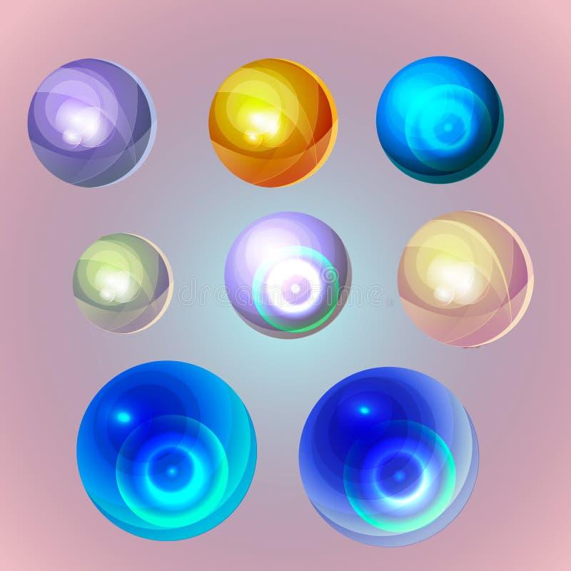 Perlas del océano en fondo del color en colores pastel stock de ilustración