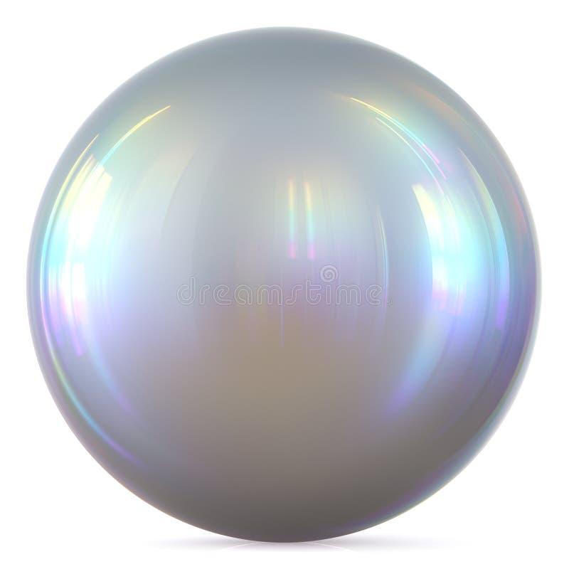 Perle de base de cercle de sphère de boule de bouton rond blanc argenté de chrome illustration stock