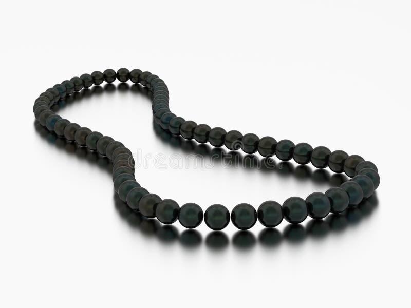 perle della collana della perla del nero dell'illustrazione 3D illustrazione di stock