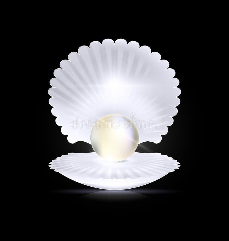 Perle et coquille foncées et blanches illustration stock