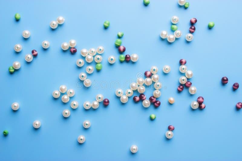 Perle le fond Rétro tas coloré de perle de vue supérieure photo libre de droits