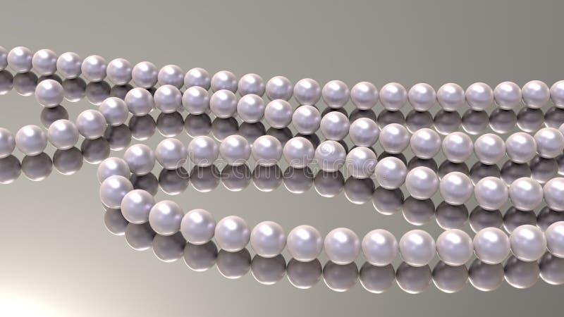 Perle rosa della perla su un fondo 3d dello specchio rendere royalty illustrazione gratis