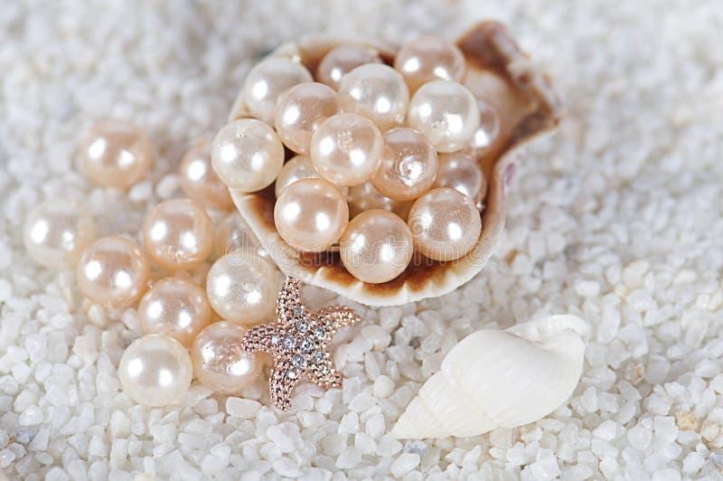 Perlen im Seeoberteil stockfoto