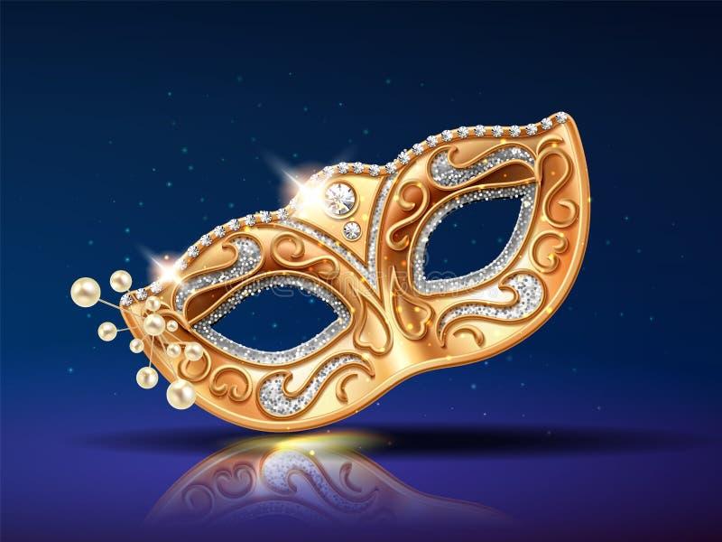 Perlen nahe goldener Maske für Festival, Karneval stock abbildung