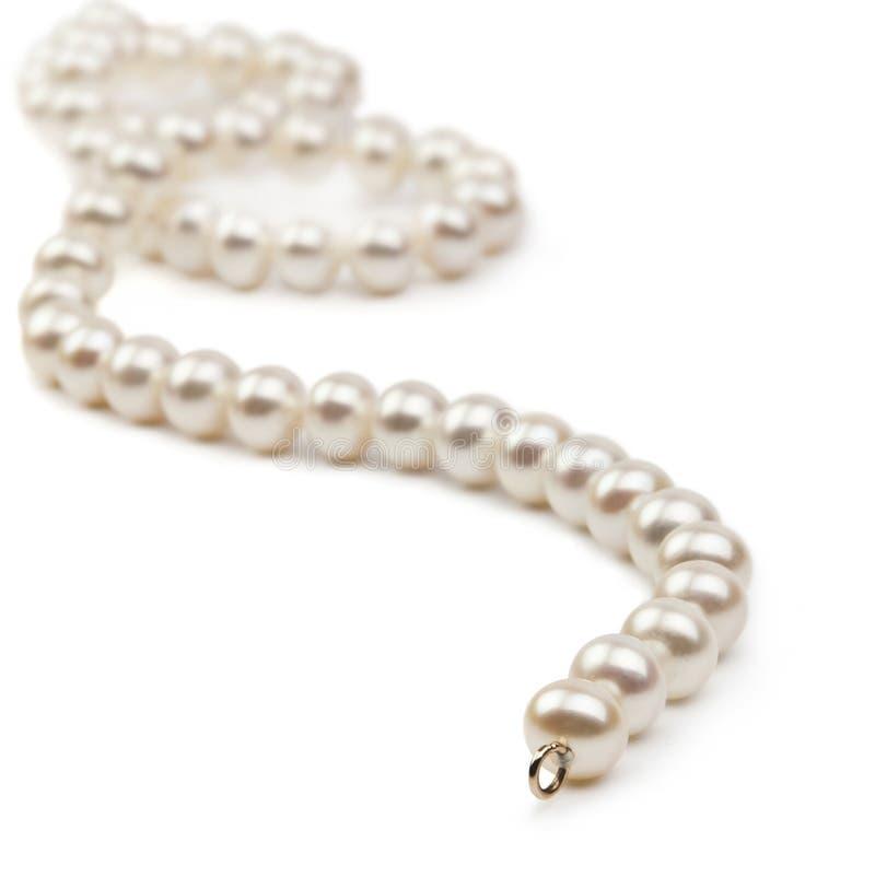 Perlen Sie die Halskette, die auf dem weißen Hintergrund getrennt wird stockfotos