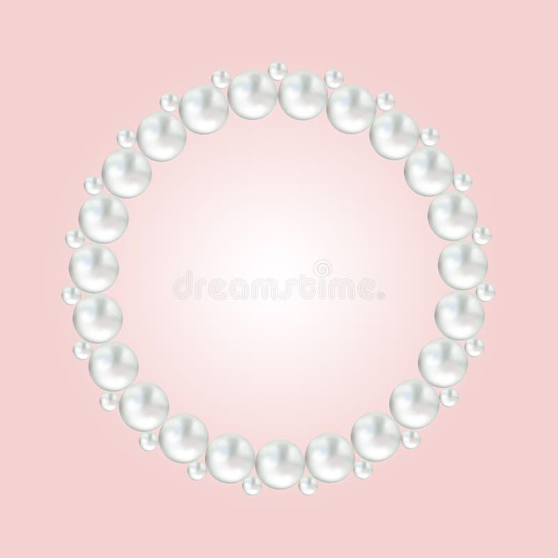 Perlen Sie runde Rahmengrenze der weißen Perle auf Rosa lizenzfreie abbildung