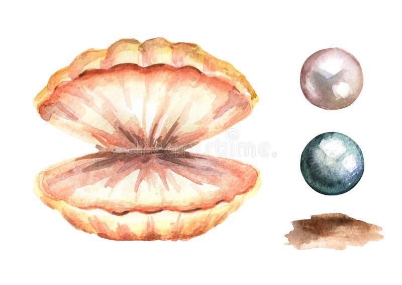 Perlen und Oberteilsatz Übergeben Sie gezogene Aquarellillustration, auf weißem Hintergrund stock abbildung