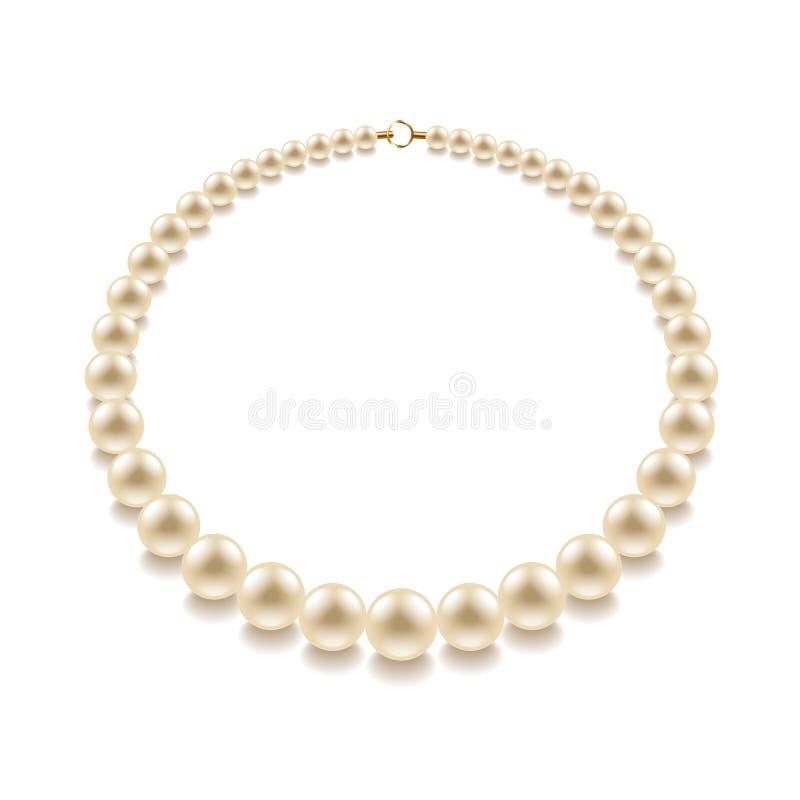 Perlenperle auf weißem Vektor lizenzfreie abbildung