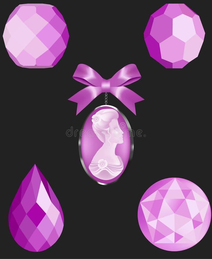 Perles de vecteur de Crystal Pink illustration de vecteur