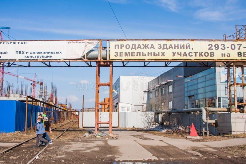 Perm, Ρωσίας - 16.2016 Απριλίου: Διαφήμιση στη σωλήνωση στοκ φωτογραφίες με δικαίωμα ελεύθερης χρήσης