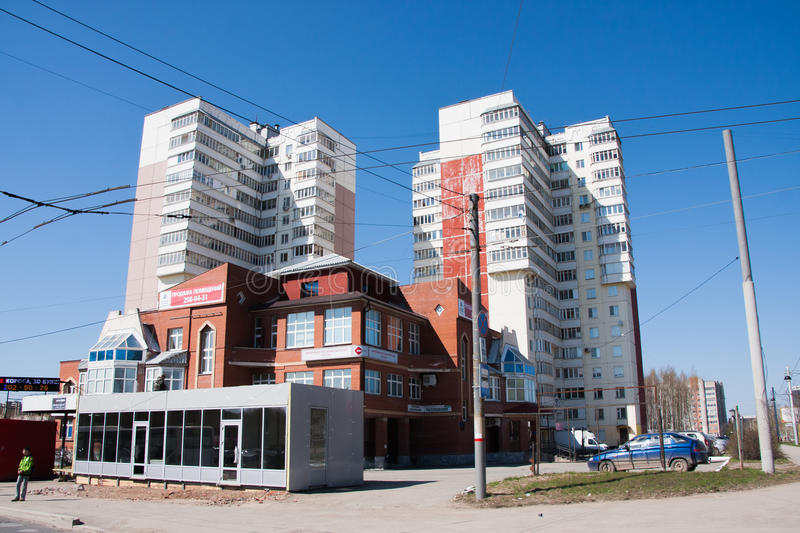 Perm, Russia - April 30.2016: City landscape with high-altitude. Apartment houses royalty free stock image