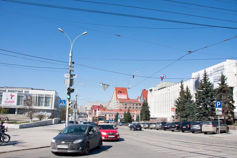 Perm, Russia - April 30.2016: City landscape. Lenin`s street stock image