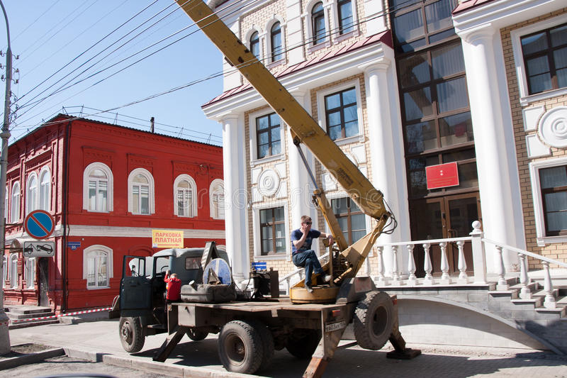 Perm, Russia - April 30.2016: Special equipment. In streets of city royalty free stock photos
