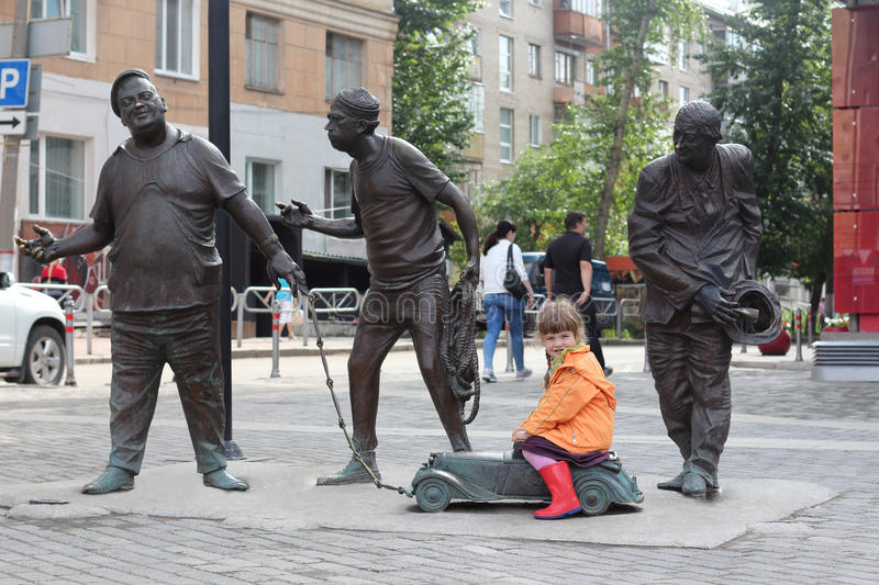 PERM, RUSSIA - JUL 18, 2013: City sculpture is dedicated to famous characters of film Caucasian captive royalty free stock image