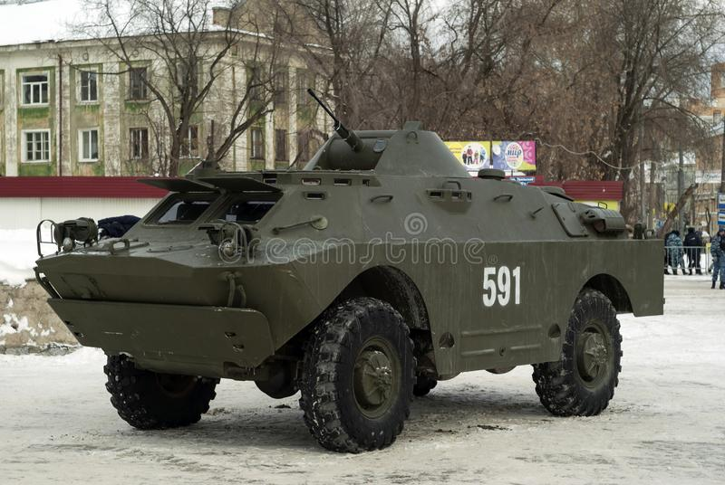 PERM, RUSSIA - MARCH 03, 2018: combat reconnaissance/patrol vehicle BRDM-2 on city street stock images