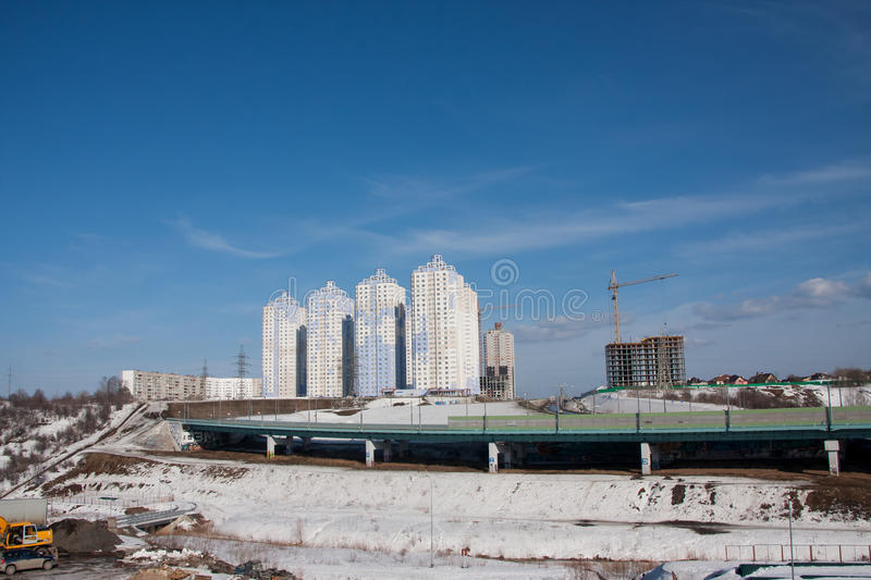Perm, Russia - March 31.2016: Construction of a new inhabited co. Mplex and the automobile bridge stock images