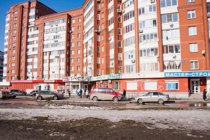 Perm, Russia - March 31.2016: Residential area with high-rise ho. Uses and shops stock image