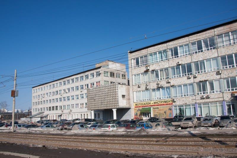 Perm, Russia - 31 marzo 2016: Paesaggio della città con uno scientifico immagini stock libere da diritti