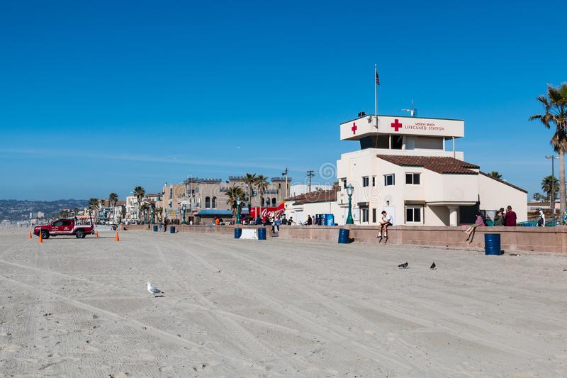 Permanent Lifeguard Station on Mission Beach Boardwalk in San Diego. SAN DIEGO, CALIFORNIA - FEBRUARY 9, 2018: The permanent lifeguard station on the Mission stock photography