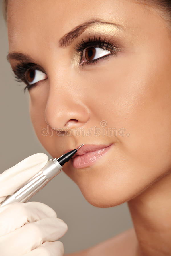 Permanent make-up royalty free stock photo