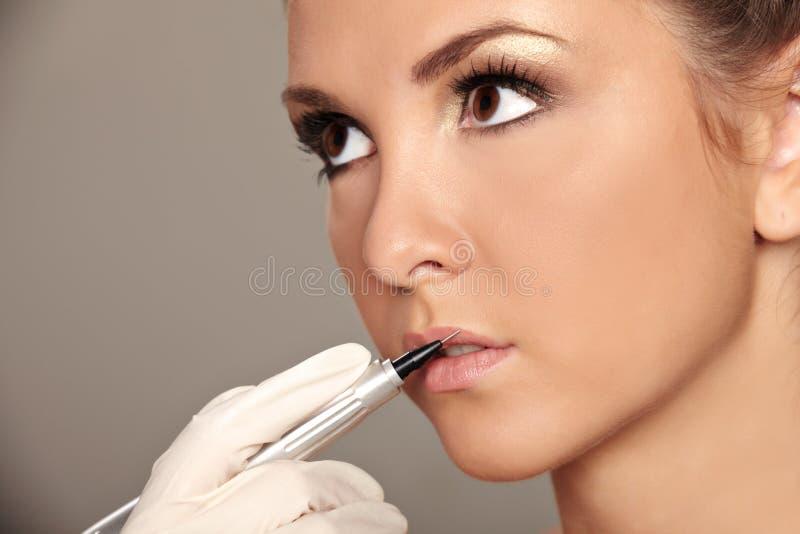 Permanent make-up stock image