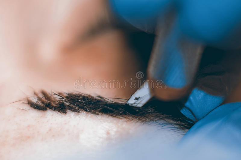 Permanent make up. Cosmetologist applying permanent makeup on eyebrows. royalty free stock photography