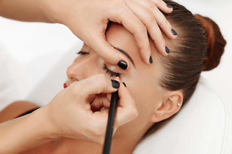 Permanent make up on eyes stock photo