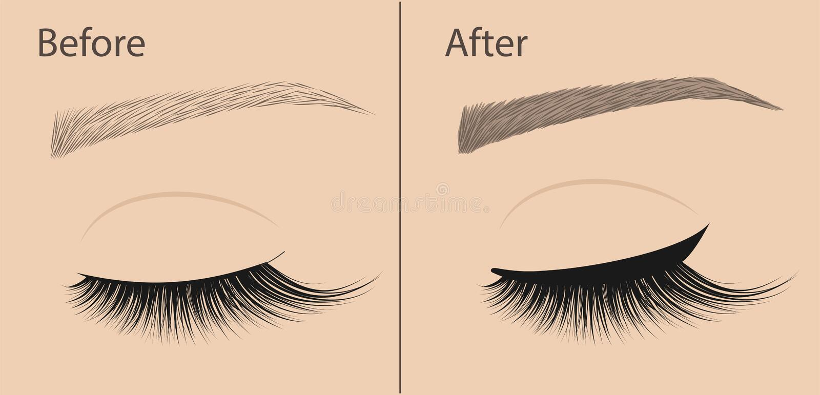 Permanent makeup. Eyeliner and correction eyebrow shaping. Before and after. Salon procedure. royalty free illustration