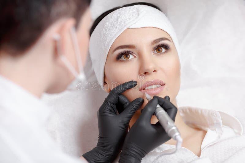 Permanent makeup lips royalty free stock photos