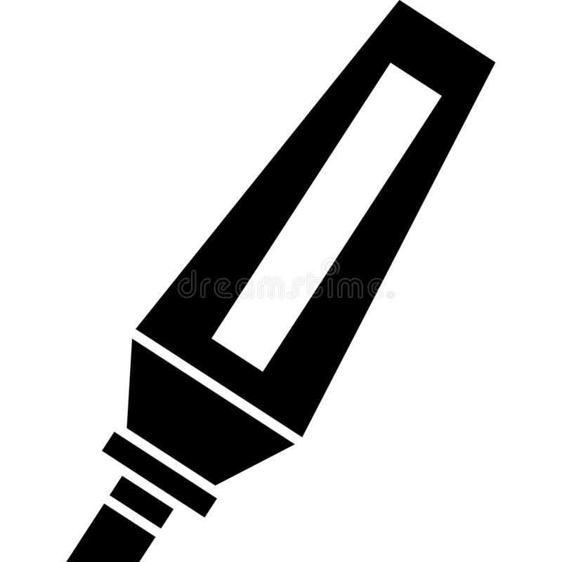 Permanent Marker Icon Vector. This vector image shows a marker icon in glyph style. It is isolated on a white background royalty free illustration
