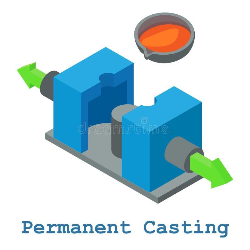 Permanent rollbesättningmetallarbetesymbol, isometrisk stil 3d vektor illustrationer