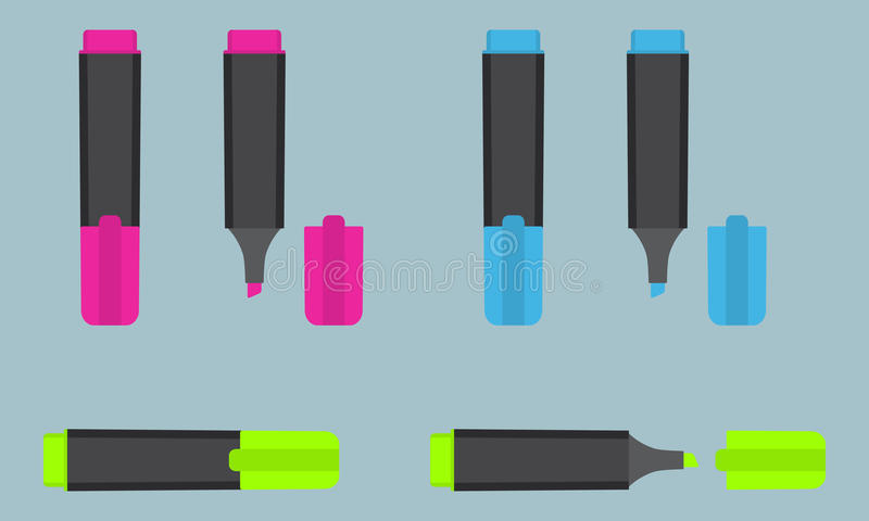 Permanent text highlight marker in three different colors: pink, blue, green. Office stationery. stock illustration