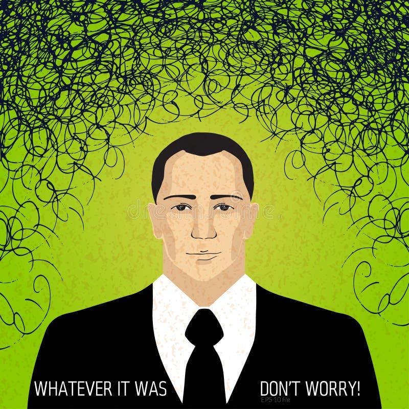Permanezca calman en negocio - preocupe el concepto, el icono del hombre de negocios con la irritación y los pensamientos del pro ilustración del vector
