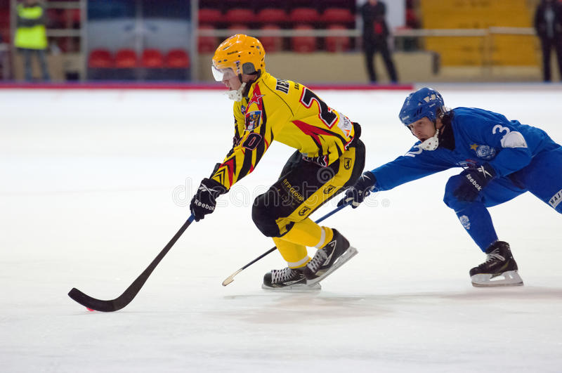 Perminov Sergey (24) in attack royalty free stock photography