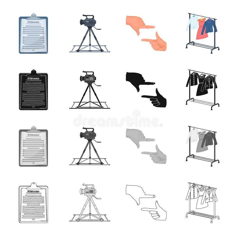 Permis, signe, annonce et toute autre icône de Web dans le style de bande dessinée Cinématographie, film, bande dessinée, icônes  illustration stock
