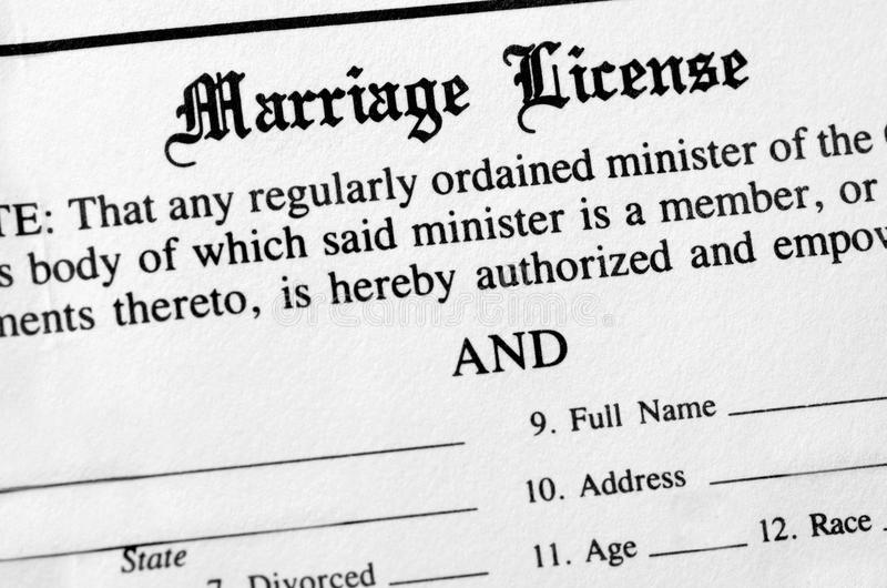 Permiso de matrimonio imagenes de archivo
