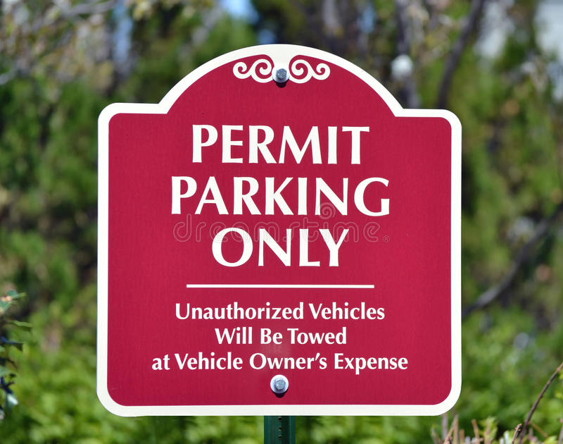 Permit Parking Only stock photos